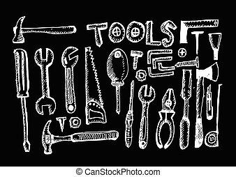 道具, セット, 手, ドロー