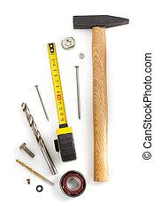 道具, セット, 道具, 白