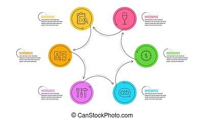 道具, ターゲット, algorithm, アイコン, テクニカル, wineglass, set., ドル, レポート, ベクトル, 星, スパナー, 会計, signs.