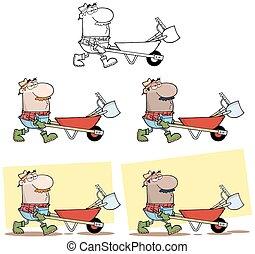 道具, ドライブする, 庭師, 一輪手押し車