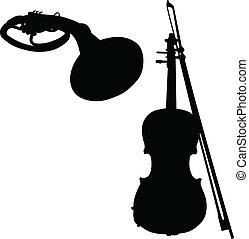道具, ベクトル, シルエット, 音楽
