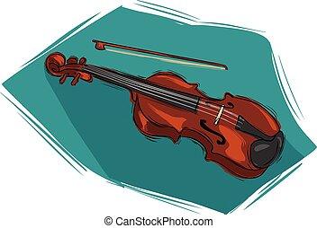道具, ベクトル, ミュージカル, イラスト, バイオリン