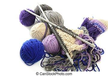 道具, ボール, 編むこと, 羊毛, 糸