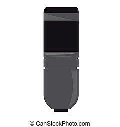 道具, マイクロフォン, 隔離された, icon., ミュージカル