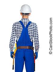 道具, 光景, 労働者, 若い, 背中, 建設, ユニフォーム, ベルト