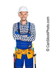 道具, 労働者, 腕, ユニフォーム, 建設, 交差させる, 幸せに微笑する, ベルト