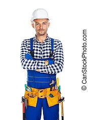 道具, 労働者, 若い, ユニフォーム, 確信した, 建設, 交差させた 腕, ベルト