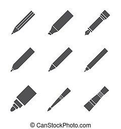 道具, 執筆, 図画, アイコン