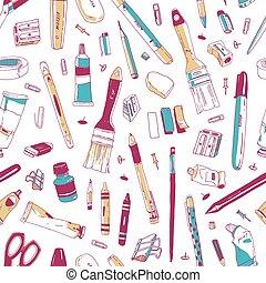 道具, 学校, 芸術, 生地, オフィス, 文房具, パターン, 図画, utensils., seamless, イラスト, 執筆, バックグラウンド。, ベクトル, 供給, 引かれる, 白, 手, 現実的, 背景, print.