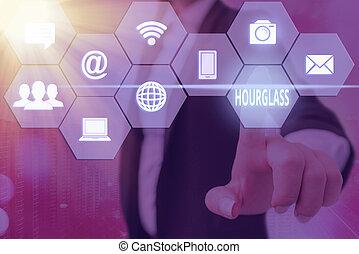 道具, 容器, hourglass., ガラス, デジタル, 測定, 最も遅く, 写真, concept., 別, consisting, 印, テキスト, の上, セット, 概念, 提示, 時間, 技術, 格子, アイコン