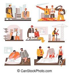 道具, 建築家, 建築者, 案, 仕事場