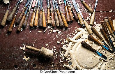 道具, 彫刻, 仕事台, 木