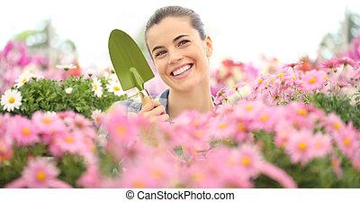 道具, 概念, 庭, 春, 女性の 微笑, 花
