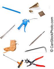 道具, 白, セット, -, 隔離された