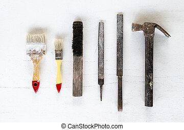 道具, 白, バックグラウンド。, 芸術, 技能