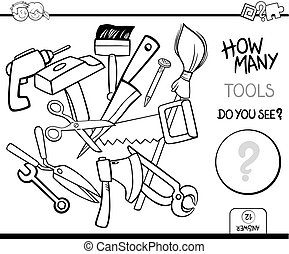 道具, 着色, 数える, ページ, 活動