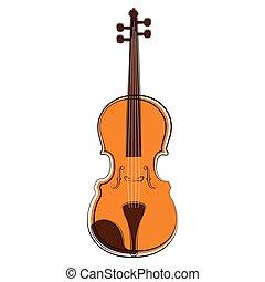 道具, sketch., ミュージカル, 隔離された, バイオリン