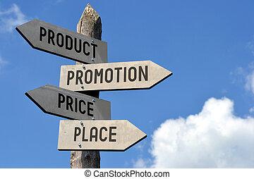 道標, プロダクト, 場所, 昇進, 価格
