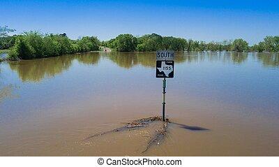 道路, あふれられる, 印, 水街路, 下に, テキサス