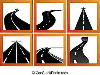 道路, 以及, 方向