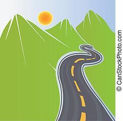 道路, 同时,, 绿色的山