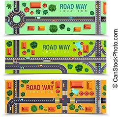 道路, 水平なバナー