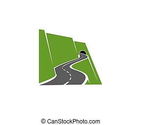 道, ∥あるいは∥, トンネル, アイコン, 山のハイウェー, 巻き取り