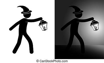 道, から, 方法, スティック, 黒, ハロウィーン, 困難, 幸せ, 照明, 人, night., 白, ベクトル, 日, 帽子, situation., ライト, 魔法使い, lantern., 捜索しなさい, 仮面舞踏会