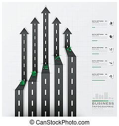 道, そして, 通り, 交通標識, 矢, 形, ビジネス, infographic