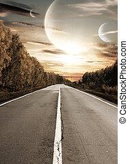 道, へ, 超現実的, 日没