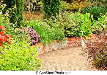道, れんが, 内側を覆われた, 庭, 10