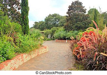 道, れんが, 内側を覆われた, 庭, 4