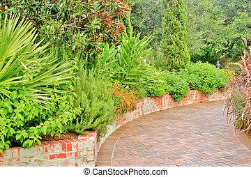 道, れんが, 内側を覆われた, 庭, 7