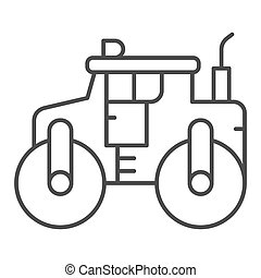 道, アイコン, 概念, ローラー, 重い, 概念, モビール, graphics., アイコン, 網, 線, 背景, スチームローラー, トラック, 白, 装置, 薄くなりなさい, ベクトル, design., アスファルト, スタイル, アウトライン, 印