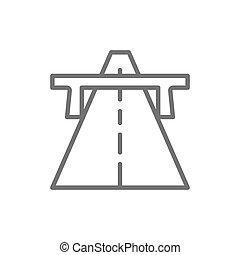 道, アウトバーン, ハイウェー, ベクトル, 方法, icon., 線