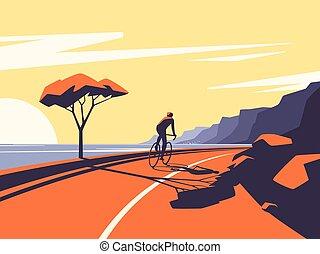 道, サイクリスト, イラスト, 海洋, ベクトル, 乗馬, 前方へ, 山