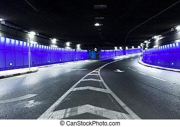 道, -, ハイウェーのトンネル, 都市