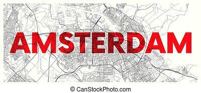 道, ベクトル, ポスター, widescreen, 詳しい, アムステルダム, 都市 地図, 計画
