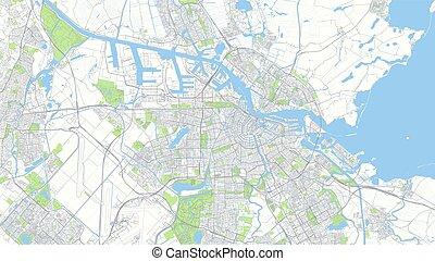 道, ベクトル, 都市, 計画, 詳しい, アムステルダム, イラスト, 都市 地図, 色