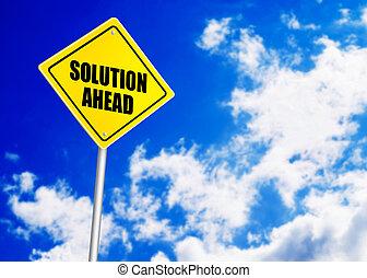 道, メッセージ, 解決, 前方に, 印