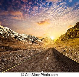 道, 中に, 山