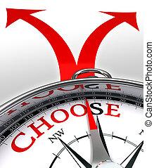 道, 交差点, 概念, 選びなさい, コンパス