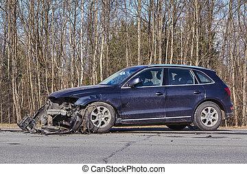 道, 前部, 事故, 側, 後で, 自動車