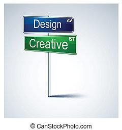 道, 創造的, 方向, 印。, デザイン