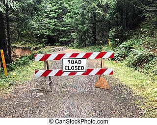 道, 地すべり, まさしく, オレゴン, 閉じられた
