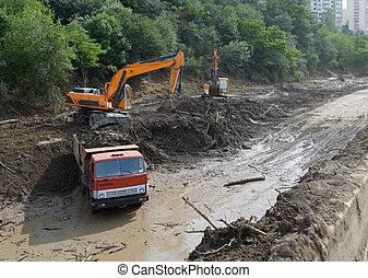 道, 地すべり, 掘削機, 清掃