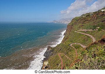 道, 多数, 空中写真, カーブ, canico, 海岸線, マデイラ