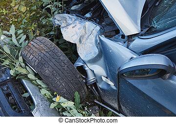 道, 後で, 事故, 側, 自動車, 前部