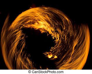 道, 抽象的, 燃えている, 夜, パフォーマンス, 図画