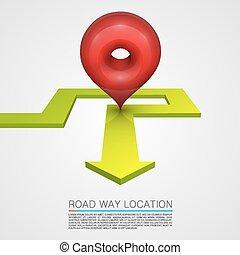 道, 方向, ナビゲーション, 矢